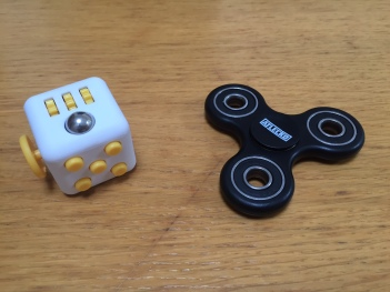 fidget cube and finger spinner