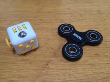fidget cube and finger spinner