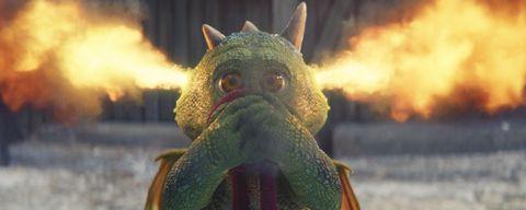 Edgar breathing fire