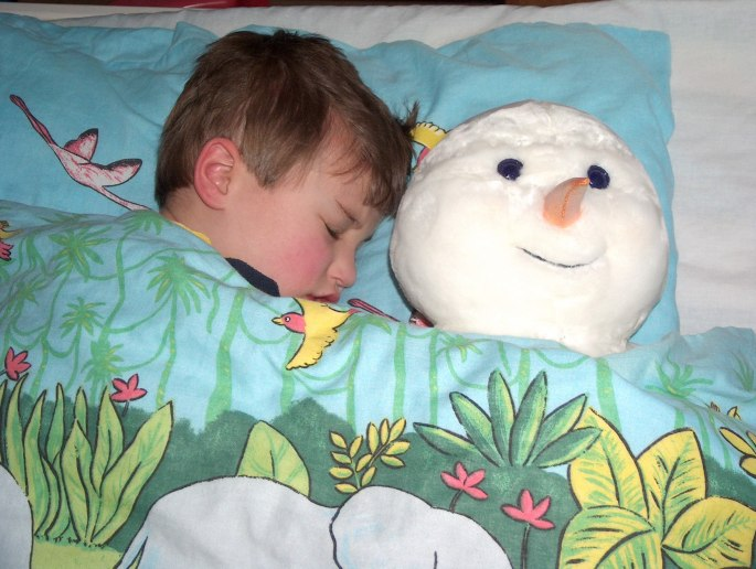 James asleep with Frosty v2 - Christmas 2007